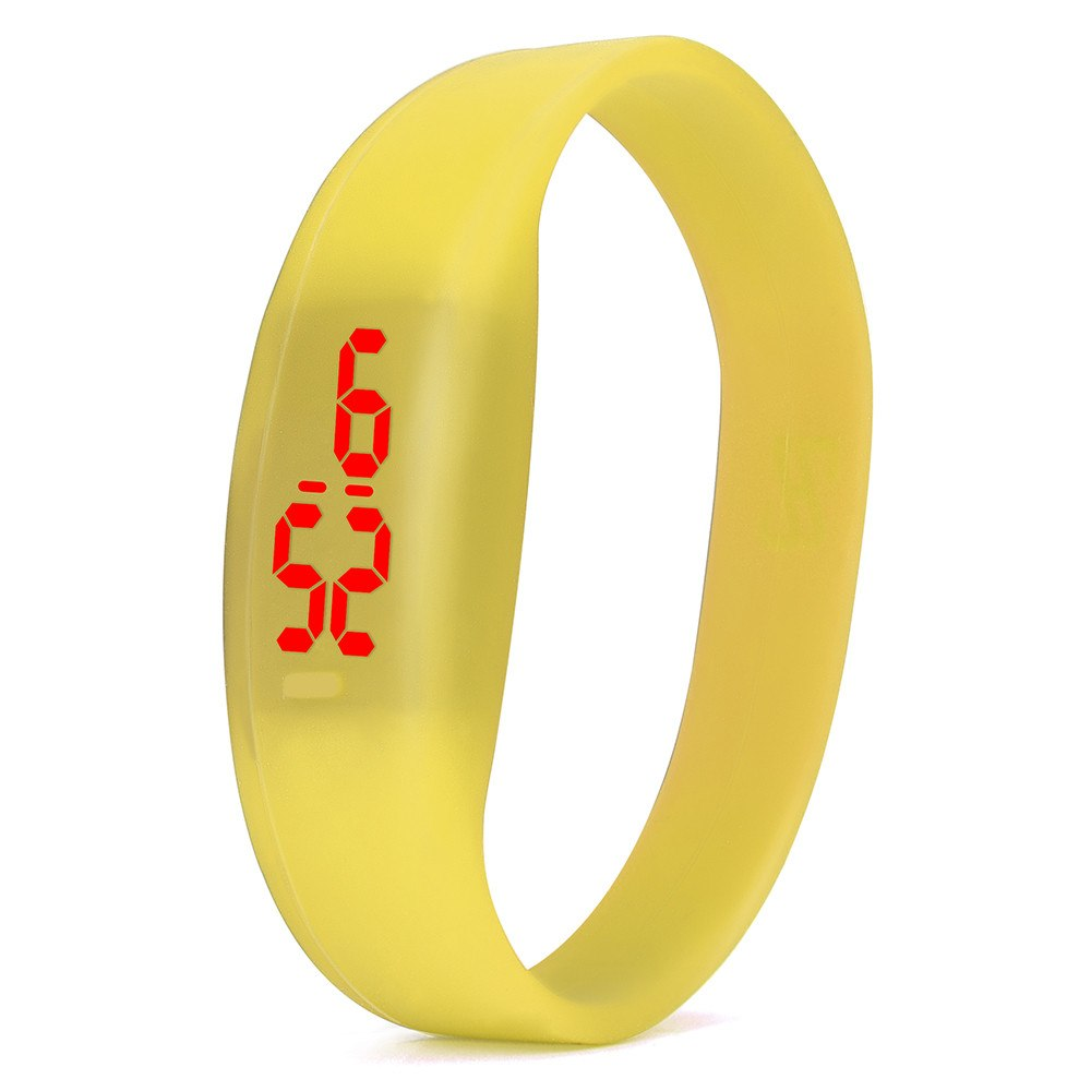 Costbuys  Digital wristwatches LED Sports Watch Unisex Watches Men Women Silicone Band Fashion round watches - Yellow