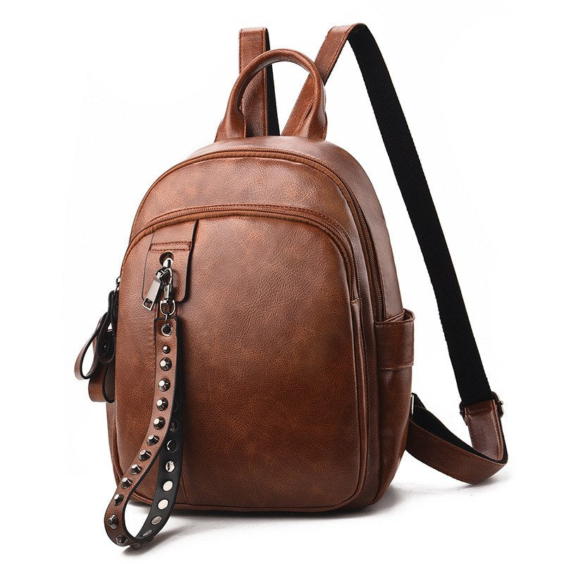 Costbuys  Fashion Rivet Design Mini Backpack Women High Quality PU Leather Backpack Female Casual Travel Bag For Girls - Earth y