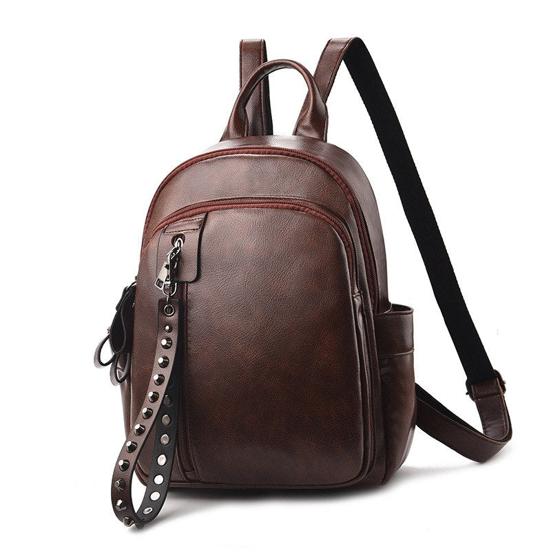Costbuys  Fashion Rivet Design Mini Backpack Women High Quality PU Leather Backpack Female Casual Travel Bag For Girls - Brown /