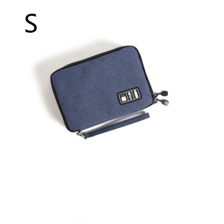 Costbuys  Double Layer Digital Gadget Bag Portable Travel Electronics Accessories Pouch USB Earphone Digital Device Bag - blue-s