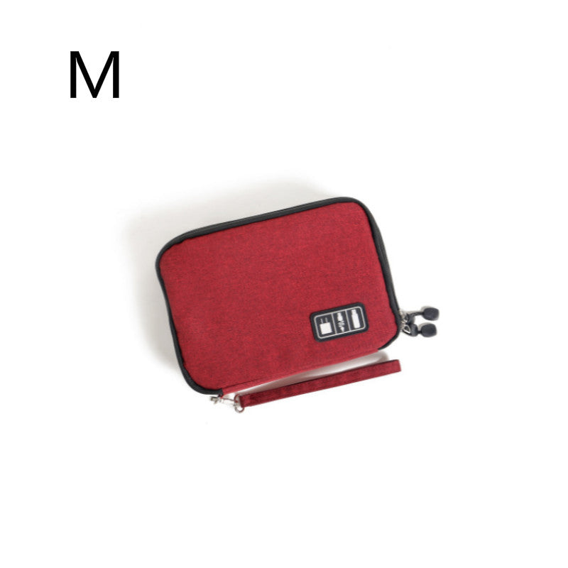 Costbuys  Double Layer Digital Gadget Bag Portable Travel Electronics Accessories Pouch USB Earphone Digital Device Bag - wine r