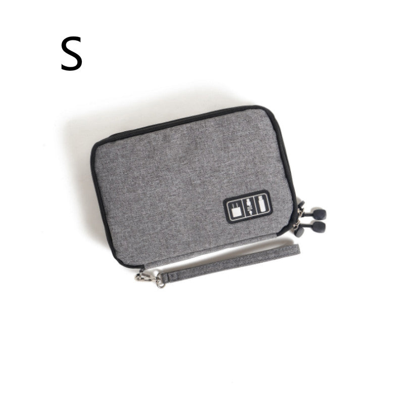 Costbuys  Double Layer Digital Gadget Bag Portable Travel Electronics Accessories Pouch USB Earphone Digital Device Bag - gray-s