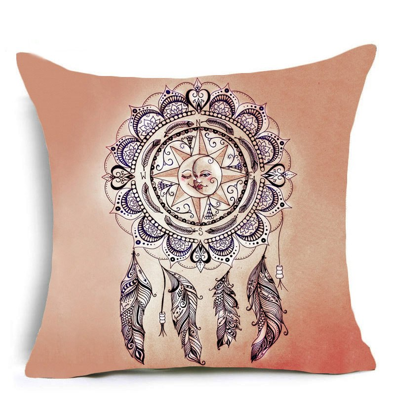 Costbuys  Dreamcatcher Polyester Cushion Cover Feather Flying 43x43 Home Decor Pillow Cover for Sofa Cojines Housse De Coussin P