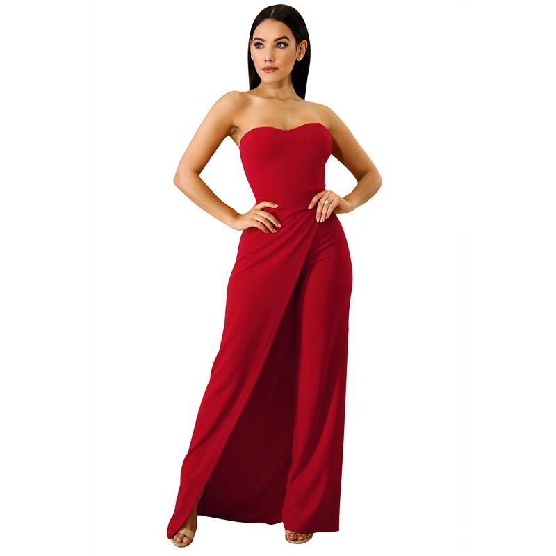 Sexy Off Shoulder Long Jumpsuit Women Wide Leg Strapless Jumpsuit Asymmetric Split Elegant Party Romper Overalls