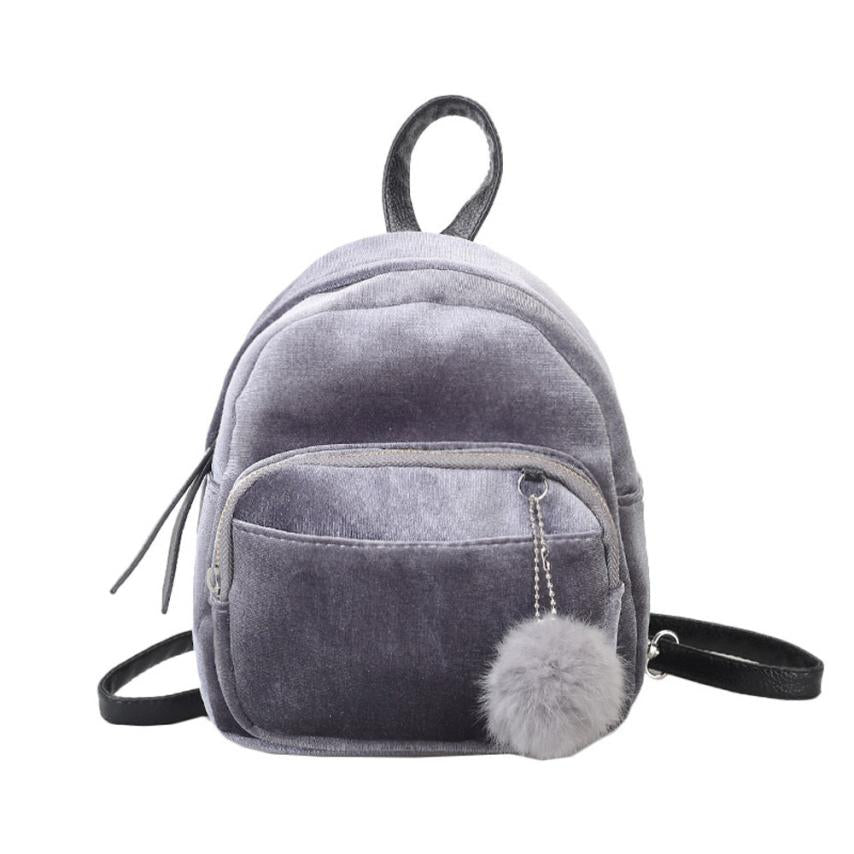 Costbuys  Backpack Women Mini Travel Backpack Female Velour Backpacks Ladies Mini Travel Backpacks Casual Daypack Satchel - Gray