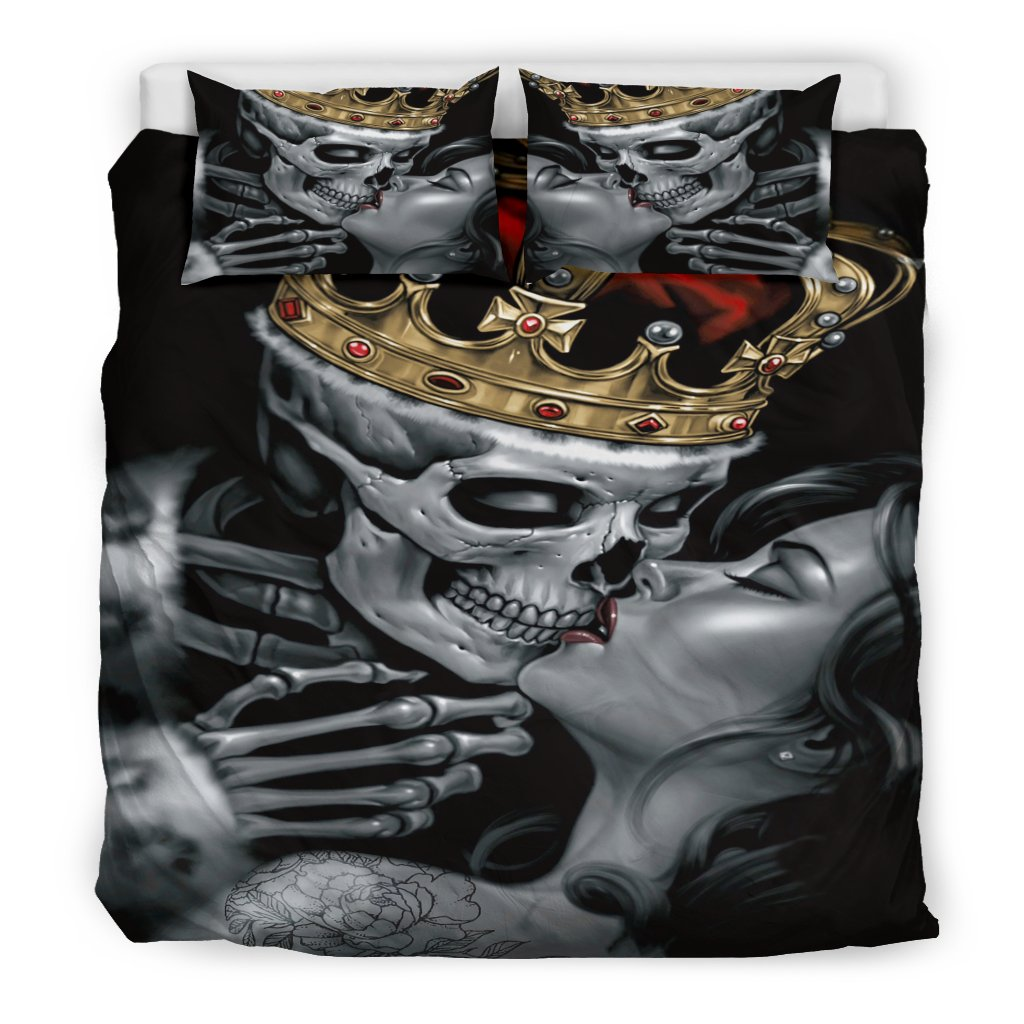 Costbuys  3pcs 3D  Bedding Set Duvet Cover Pillowcase Beauty Kiss King Skull Duvet Cover Set  pillowcase Duvet Cover Bedroom - 2