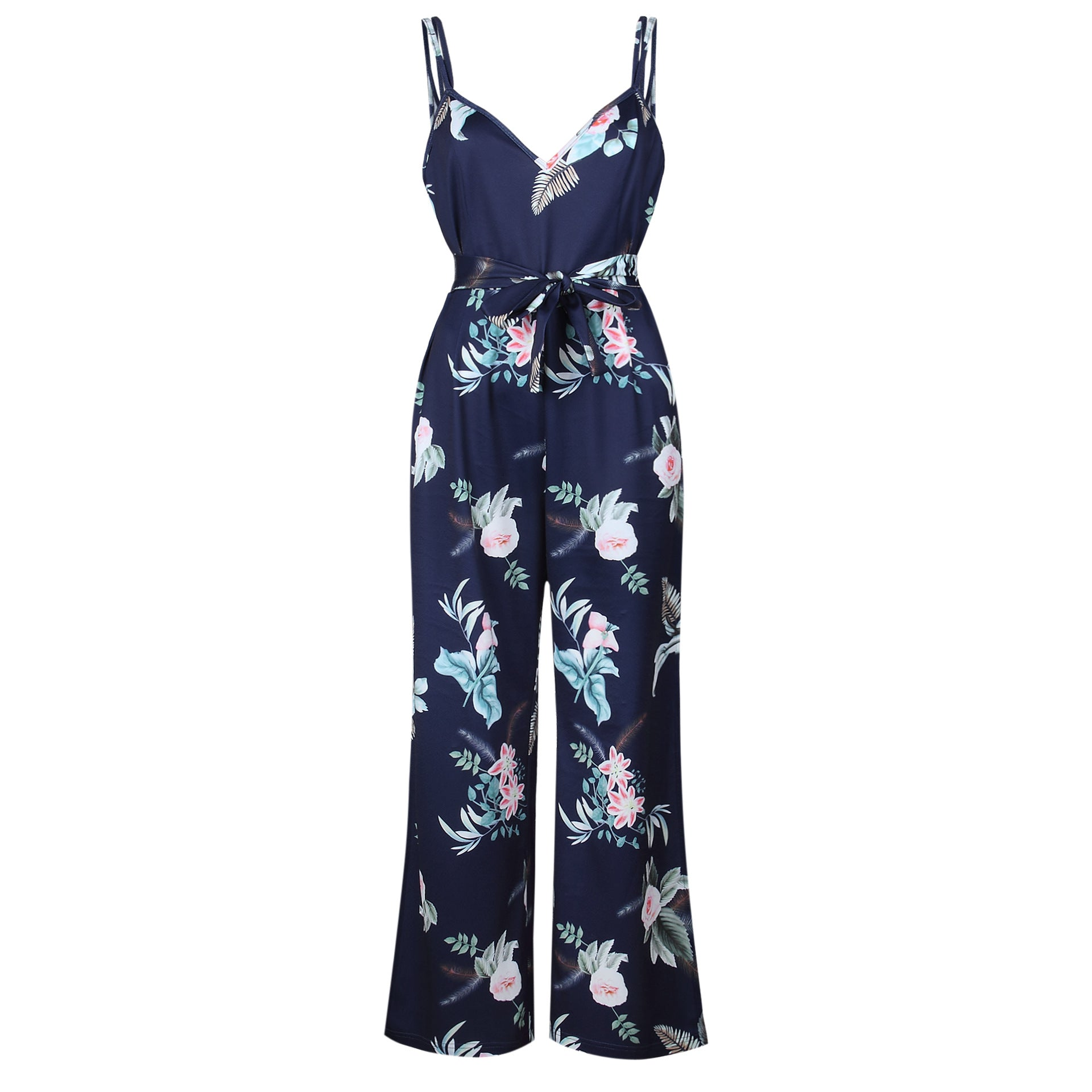 Costbuys  Women Floral Print Sexy Strap Jumpsuits Off Shoulder Summer Beach Rompers Wide Leg Pants Elegant Jumpsuit Overalls - B