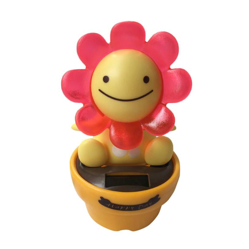 Costbuys  1pc Solar Powered Dancing Happy day Bobble Dancer Toy Car Decor Car inner Decor Toys High Quality - Red