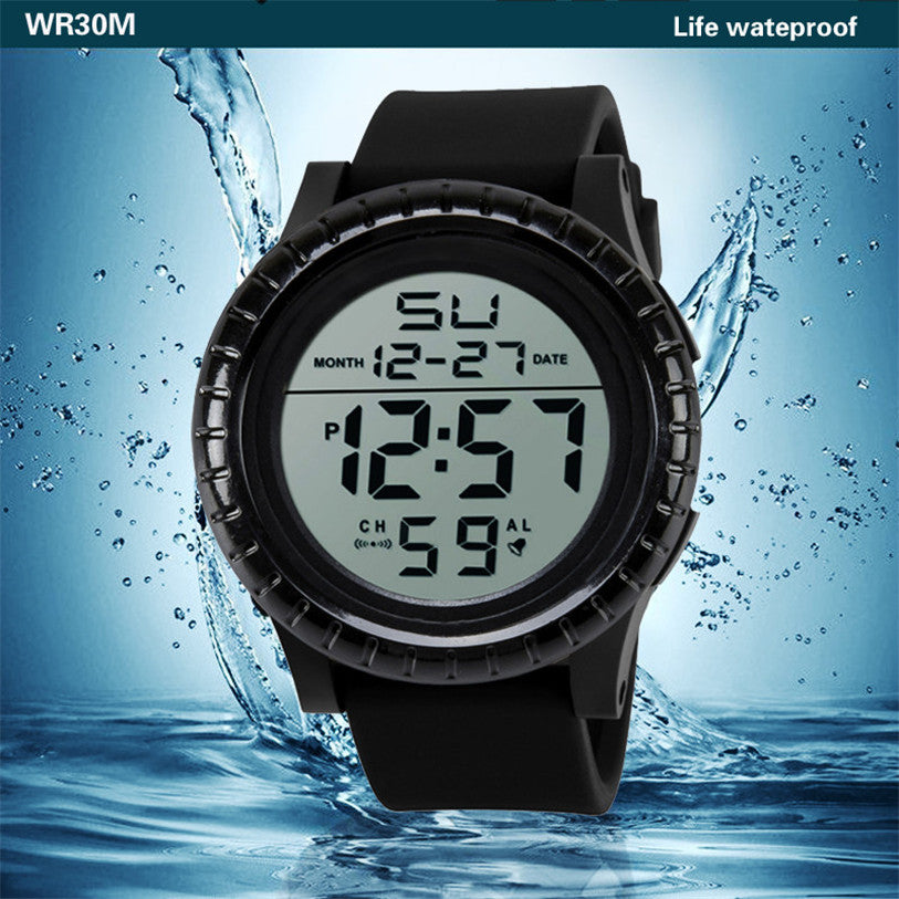 Costbuys  NEW Fashion Men's LED Digital Date Countdown Timer Sport Quartz Wrist Watch - Black
