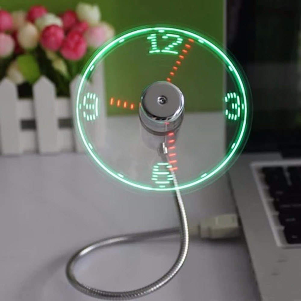 Costbuys  Durable USB Mini Flexible Time LED Clock Fan with LED Light - Cool Gadget Keep cool and Time Display For PC Laptop - p