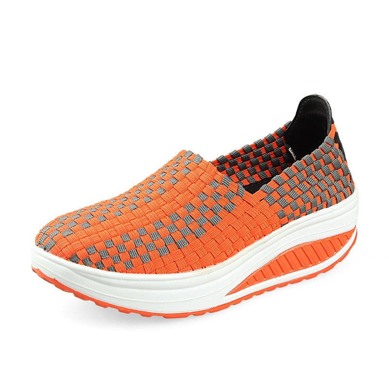 38076621198 Spring Summer Breathable Women Hand Elastic Woven Shoes Flat slip on P –  Costbuys