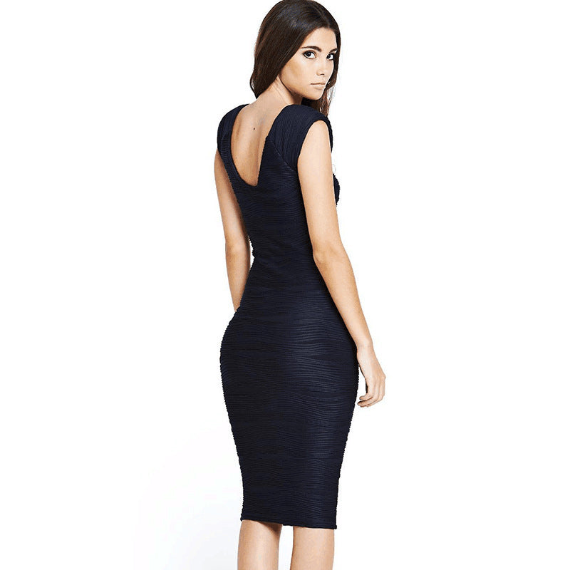 Elegant Women Wedding Party Sexy Low V Back Stripe Stretchy Bandage Bodycon Knee-Length Casual Pencil Dress with Sleeves