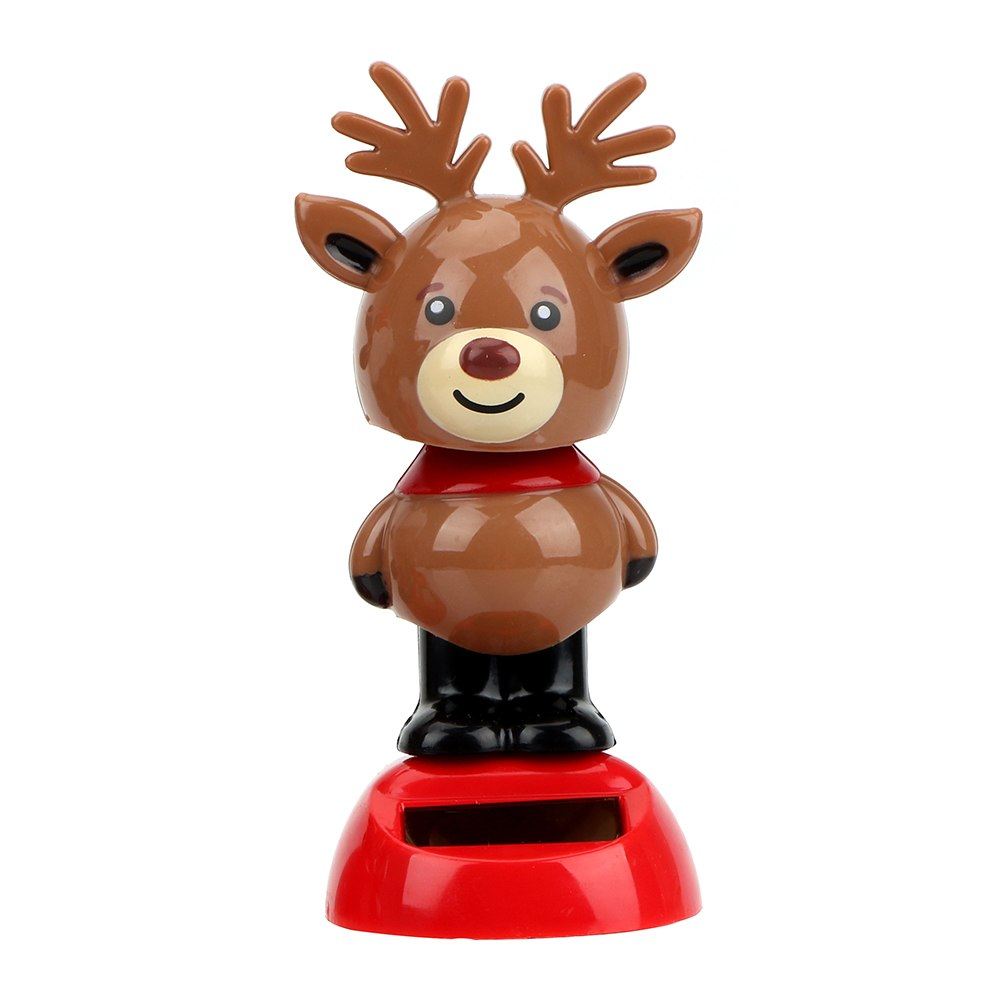 Costbuys  Elk Car Ornament Interior Accessories Christmas Style Dashboard Decoration Solar Powered Dancing Toy With Self-adhesiv