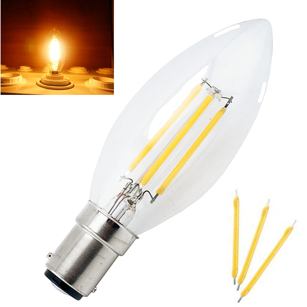 Costbuys  Energy Saving C35 B15 LED Candle Bulb 4W 220V Filament Light Bulb Crystal Chandelier LED Lamp With Glass Torpedo Shape