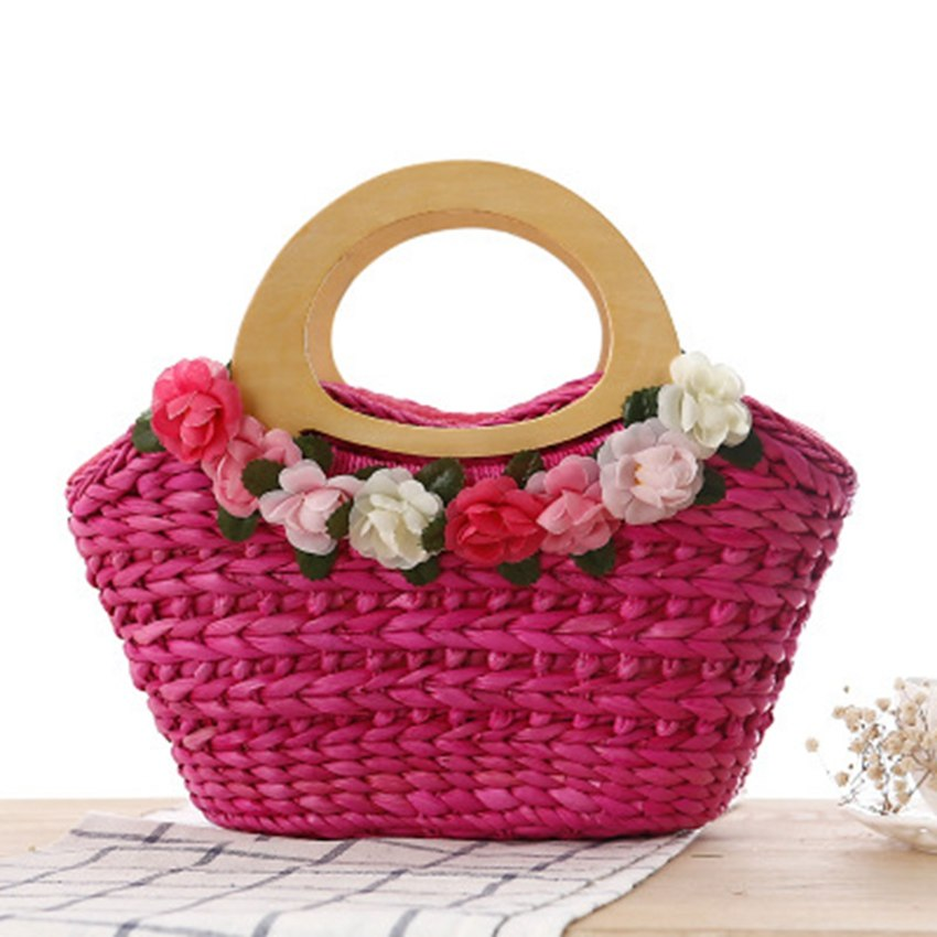 Costbuys  Ethnic style garden small flowers woven bag fairy hand woven bag grass bag women's travel vacation beach bag Top-Handl