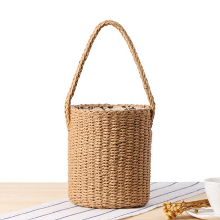 Costbuys  Ethnic wind hand carry bucket straw bag handmade paper rope woven beach bag simple leisure beach bag Top-Handle Bags -