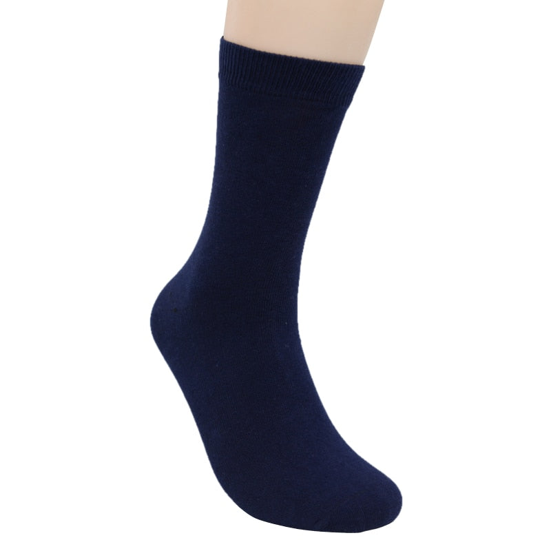 Costbuys  High Quality Men  Cotton Socks Male Autumn Winter Black Middle Tube Sock - Navy blue / China / Free Size