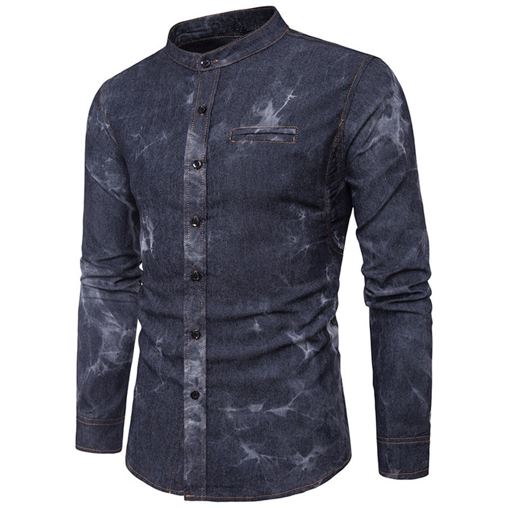 Costbuys  Europe Men Denim Blusa Korean Style Boy Slim Blouse Adornment Pocket Shirts Handsome Boys Club Shirt Fashion Stand Col