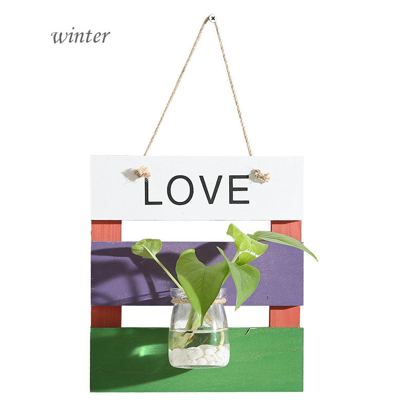 Costbuys  Europe Style Home Decor Craft Wooden Plant Hooks Wall Mount Water Planting Flower Pot Glass Bottle Hanger Room Craft H