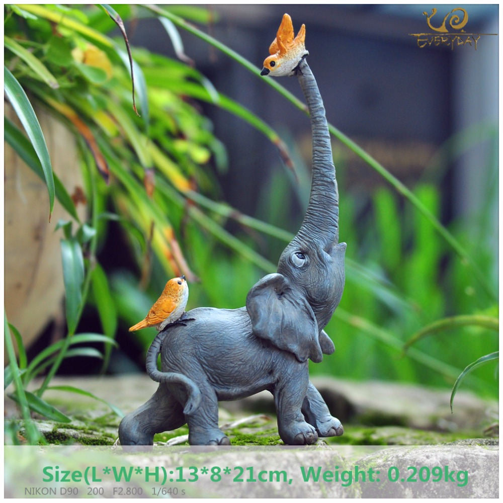 Costbuys  Lucky elephant figurines fairy garden animal statue toys home decor tabletop decoration souvenir crafts - T09710A