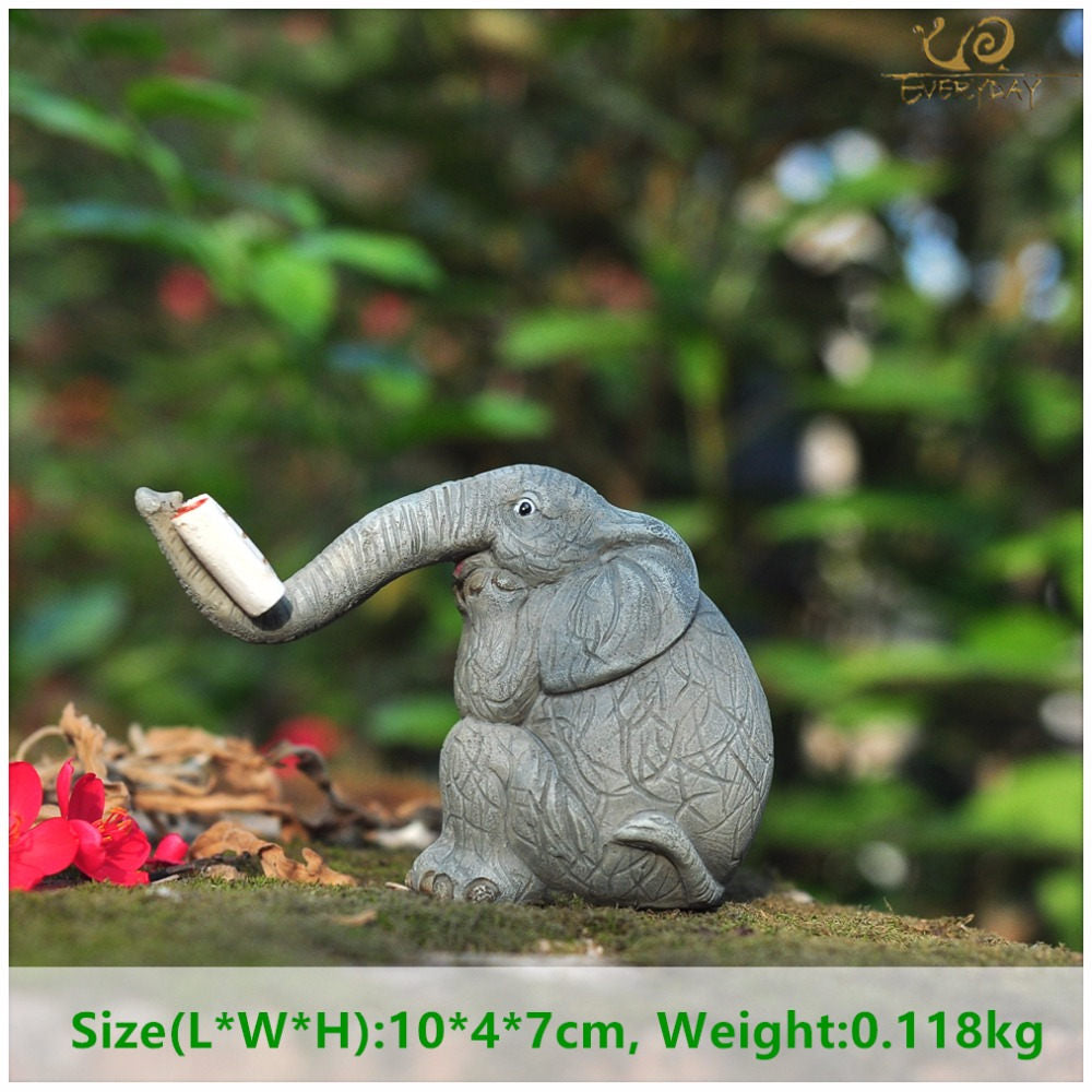 Costbuys  Lucky elephant figurines fairy garden animal statue toys home decor tabletop decoration souvenir crafts - T13252A