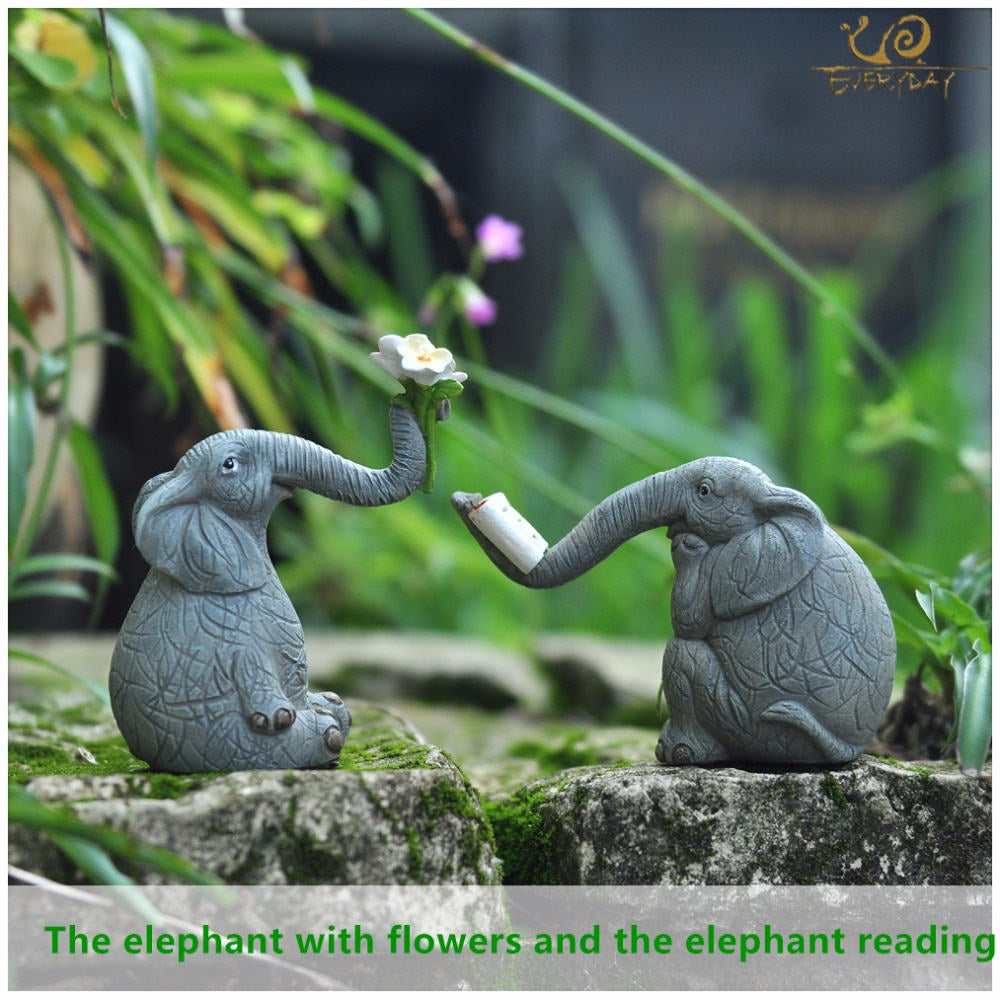 Costbuys  Lucky elephant figurines fairy garden animal statue toys home decor tabletop decoration souvenir crafts - T13251A-52A