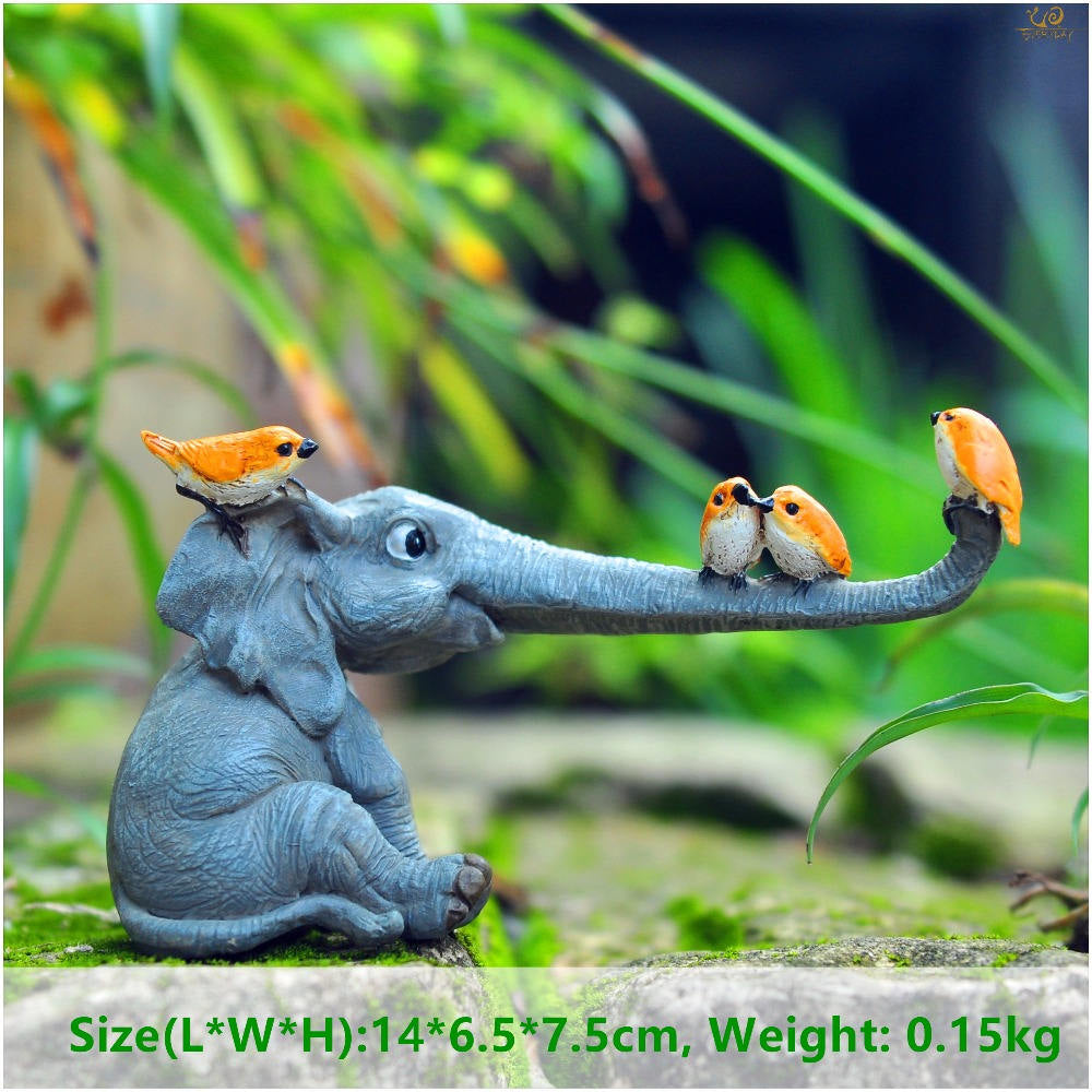 Costbuys  Lucky elephant figurines fairy garden animal statue toys home decor tabletop decoration souvenir crafts - T09712A