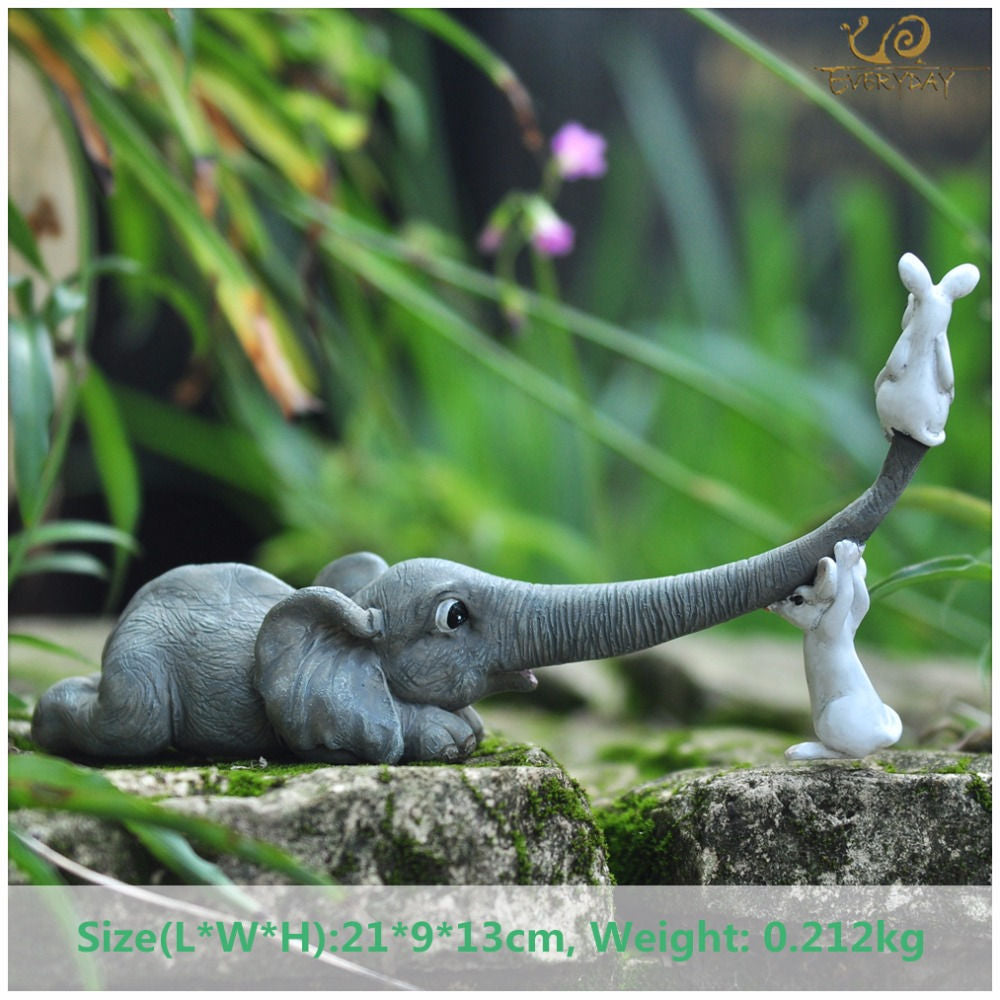 Costbuys  Lucky elephant figurines fairy garden animal statue toys home decor tabletop decoration souvenir crafts - T09711A
