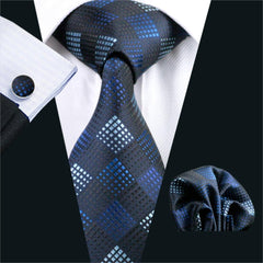 Gents Necktie Blue Plaid 100% Silk Jacquard Tie Hanky Cufflinks Set Business Wedding Party Ties For Men