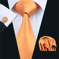 Men`s Tie Orange Solid Silk Jacquard Woven classic Tie Hanky Cufflinks Set For Men Business Wedding Party