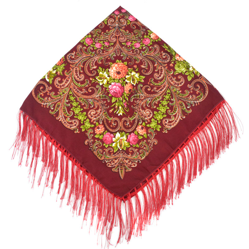 Costbuys  Women Cotton Square Wrap Scarf Shawl Lady Gift Tassel Winter Floral Solid Foulard Scarves - JM34 wine red