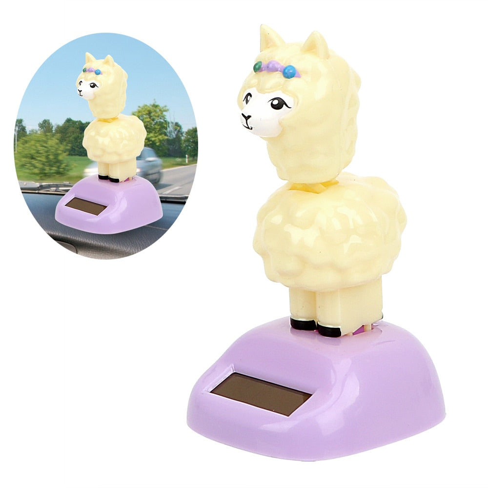 Costbuys  Car Ornaments Shaking Head Toy Solar Powered Car Dashboard Decoration Decompression Alpaca Doll Auto Accessories