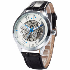 Galaxy Series Men's Leather Strap Watch Automatic Mechanical Male Wristwatch Hand Watch Skeleton Steampunk Reloj