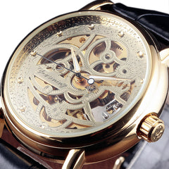 Gold Fashion Casual Designer Leather Men Skeleton Mechanical Watch Mens Watches Top Brand Luxury Automatic Watch Clock