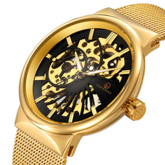 Golden Skeleton Mechanical Watches Men Luxury Brand Watch Automatic Stainless Steel Casual Wristwatch Hollow Out Clock
