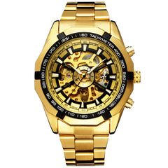 Men Watches Sport Gold Skeleton Mechanical Watches Male Classic Full Stainless Steel Clock Relogio Masculino