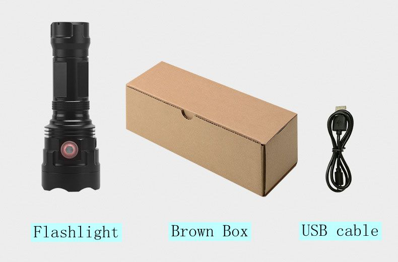 Costbuys  Hard Light Tactical IP67 Waterproof LED Torch 18650 / 26650 Battery USB 30W Rechargeable LED Torch Flashlight - NO BAT