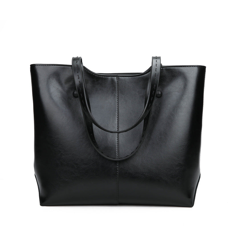 Costbuys  Famous Large Capacity Women Leather Handbags Shoulder Bag Casual Black Tote Bags Female Luxury Top-handle bags - Black