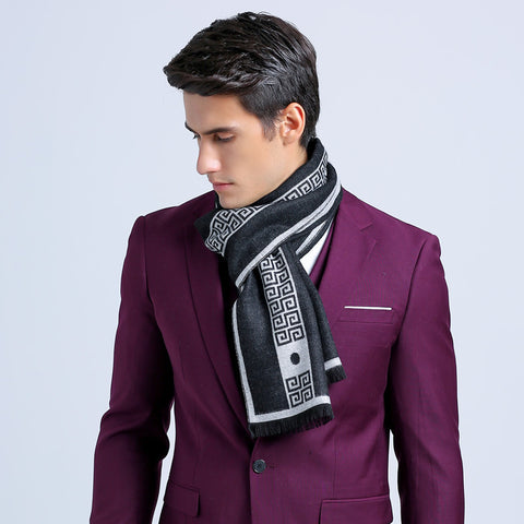 75*205cm Wholesale Brand Winter Scarf Men Warm Soft Tassel Bufandas Cachecol Gray Plaid Woven Wrinkled Cotton Men Scarves