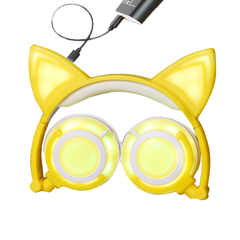 Costbuys  Fashion Cat Ear headphones LED Ear Headphone Cats Earphone Flashing Glowing Headset Gaming Earphones Gifts For Adult C