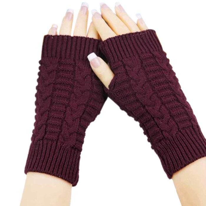 Costbuys  Knitted Arm Fingerless Gloves Women Unisex Winter Woolen Soft Warm Mittens Women's Fitness Gloves - Red
