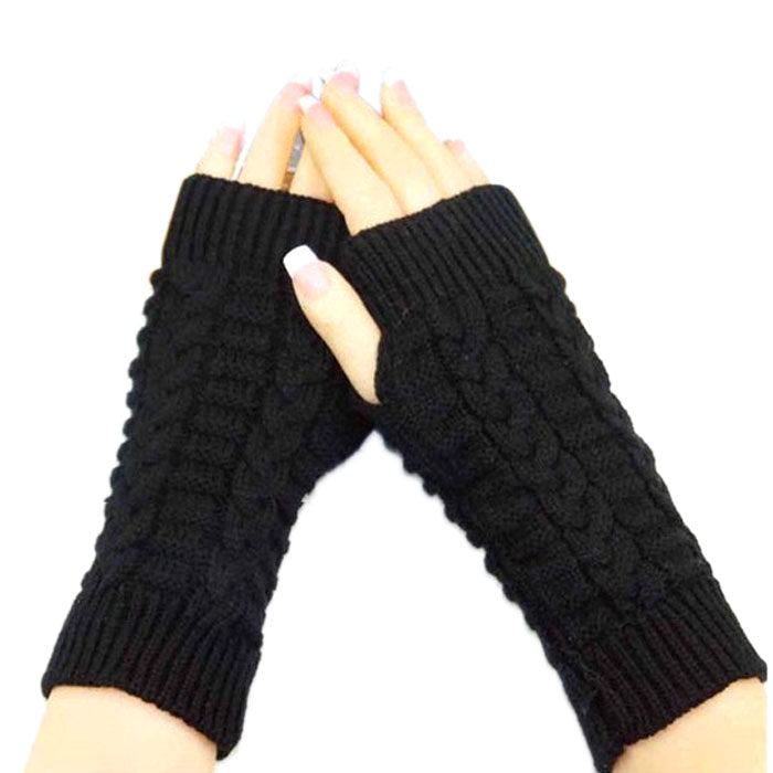 Costbuys  Knitted Arm Fingerless Gloves Women Unisex Winter Woolen Soft Warm Mittens Women's Fitness Gloves - Black