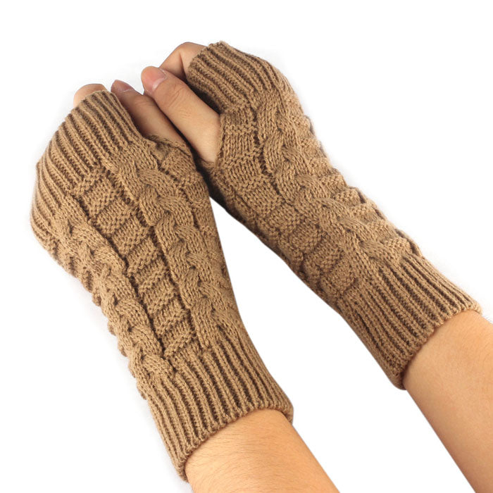 Costbuys  Knitted Arm Fingerless Gloves Women Unisex Winter Woolen Soft Warm Mittens Women's Fitness Gloves - Brown
