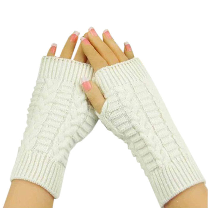 Costbuys  Knitted Arm Fingerless Gloves Women Unisex Winter Woolen Soft Warm Mittens Women's Fitness Gloves - White