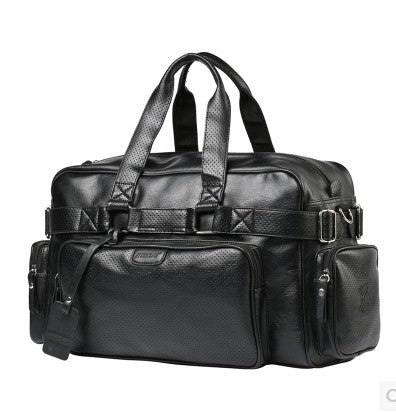 Costbuys  Fashion Leather Mens Travel Bags Large Capacity Waterproof Duffle Bag Vintage Hand Luggage Shoulder Bag - Black