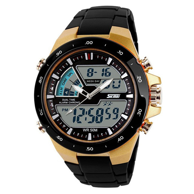 Costbuys  Fashion Luxury Watches Men Dual Display Clocks Waterproof Multi Function LED Sports Watch Alarm Gold Creative