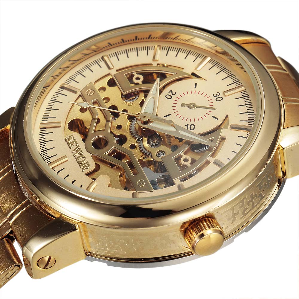 Costbuys  Fashion New Automatic Self-wind Skeleton Mechanical Watch Men Full Steel Mens Watches Top Brand Luxury Relogio Masculi