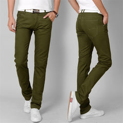 Fashion High Quality Cotton Men Pants Straight Spring army green Long Male Casual Trousers Slim fit plus Size cargo jogger