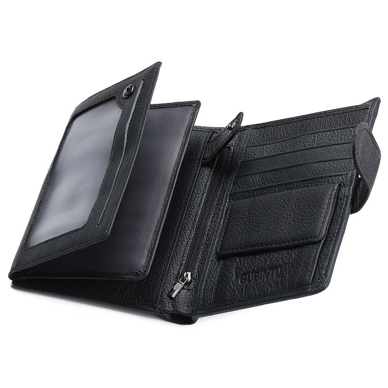 Costbuys  Fashion New Soft Genuine Leather Men's Middle Long Wallets Black Color Credit Card Holder Bits Passcard Pocket Coin Pu