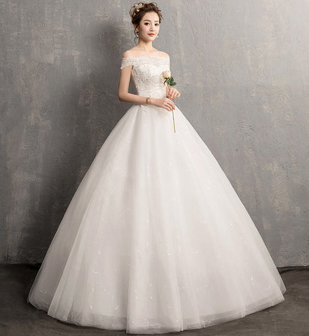 edb58131fb9 Simple Wedding Dress Embroidery Sweet Boat Neck off the shoulder Bridl Gowns  Custom Made